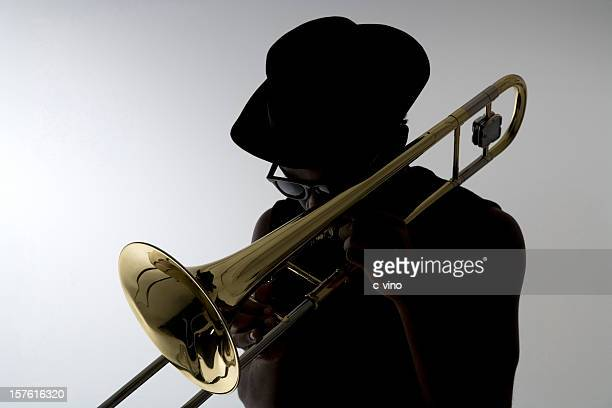 Silhouette of a trombonist