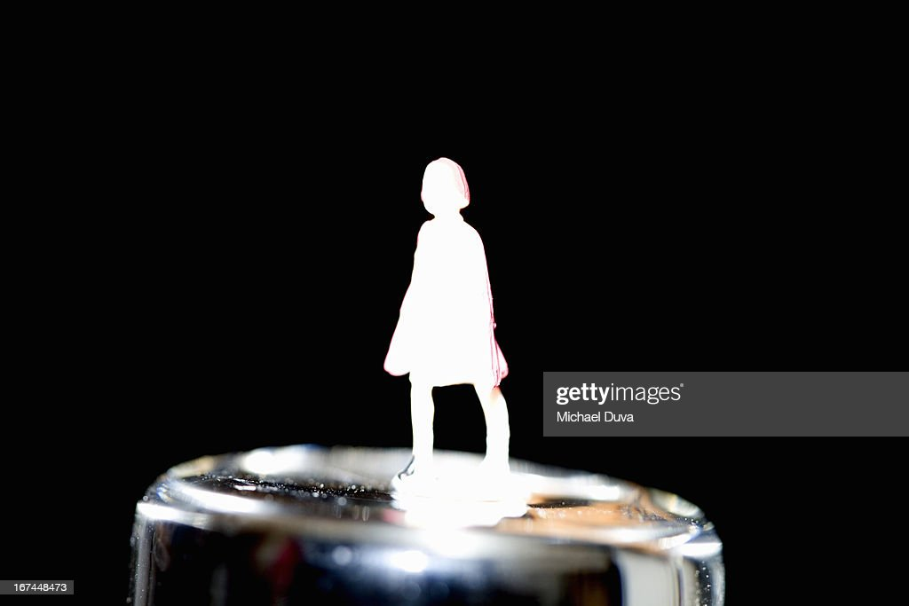 silhouette of a woman coming out of glass fiber : Stock Photo