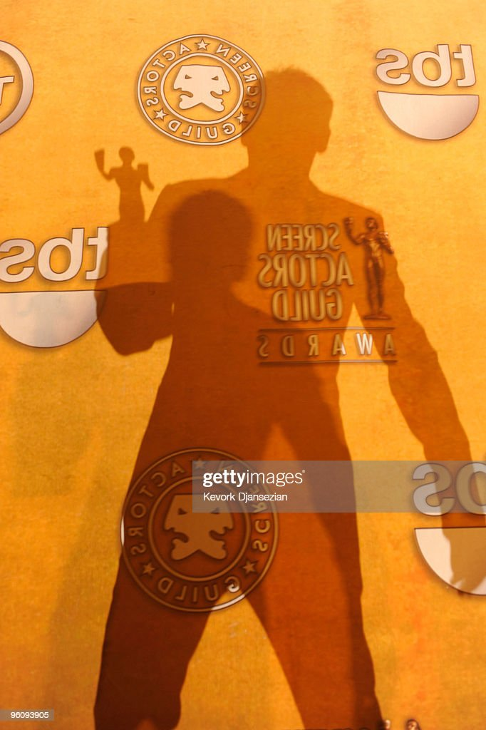 A silhouette of actor <a gi-track='captionPersonalityLinkClicked' href=/galleries/search?phrase=Kevin+Bacon&family=editorial&specificpeople=202000 ng-click='$event.stopPropagation()'>Kevin Bacon</a> posing with the Male Actor In A TV Movie or Miniseries award for 'Taking Chance' in the press room at the 16th Annual Screen Actors Guild Awards held at the Shrine Auditorium on January 23, 2010 in Los Angeles, California.