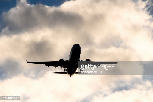 Silueta de un avión : Foto de stock