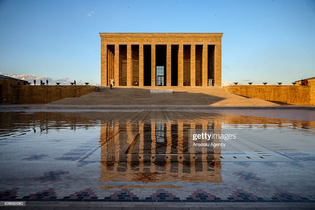 Silhouette of Anitkabir, mausoleum of Mustafa Kemal Ataturk, reflects to the ground in Ankara, Turkey on April 30, 2016.