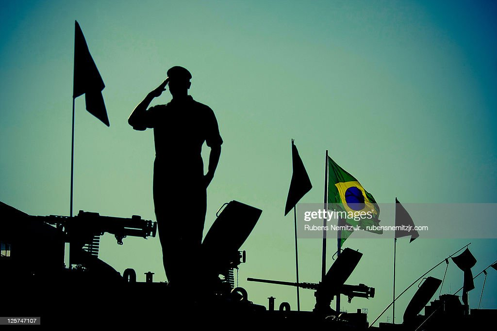 Silhouette of army officer : Stock Photo
