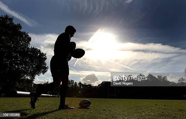 A silhouette of Ben Youngs during the England training session at Pennyhill Park Hotel on October 27 2010 in Bagshot England