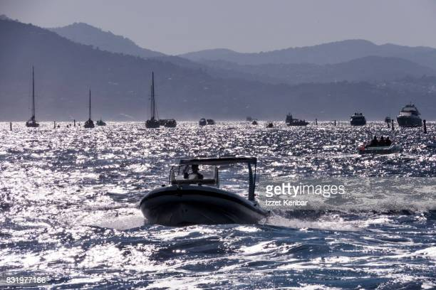 Silhouette of boats  on the sea along the Côte d'Azur  near Antibes, Alpes Maritimes, France