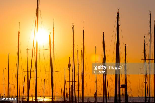 Silhouette of boats