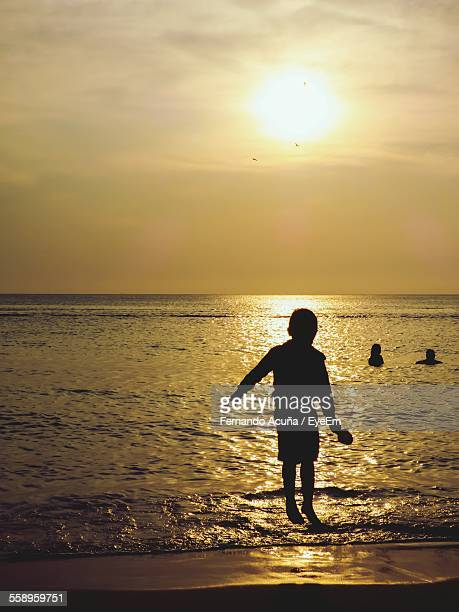 Silhouette Of Boy Jumping On Beach At Sunset