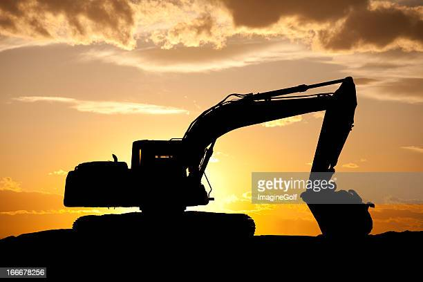 Silhouette of Bulldozer at a Construction Site