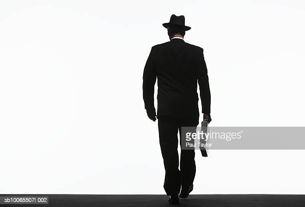 Silhouette of businessman walking with briefcase, rear view
