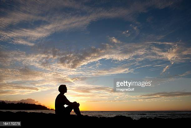 Silhouette of Caucasian Woman Deep in Thought