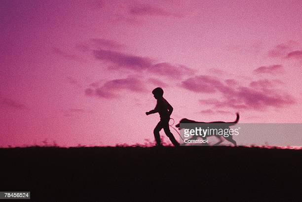 Silhouette of child walking dog at dusk