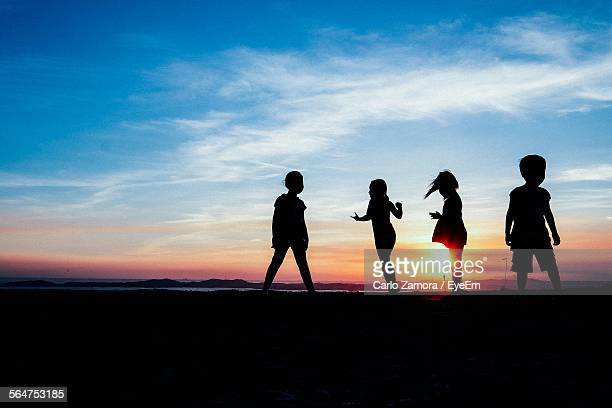Silhouette Of Children Standing At Coast During Sunset