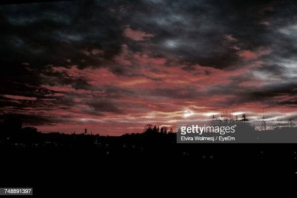 Silhouette Of Cloudy Sky At Sunset