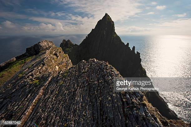 Silhouette of coastal rock formations