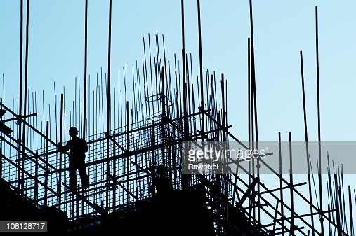 Silhouette of Construction Worker : Stock Photo