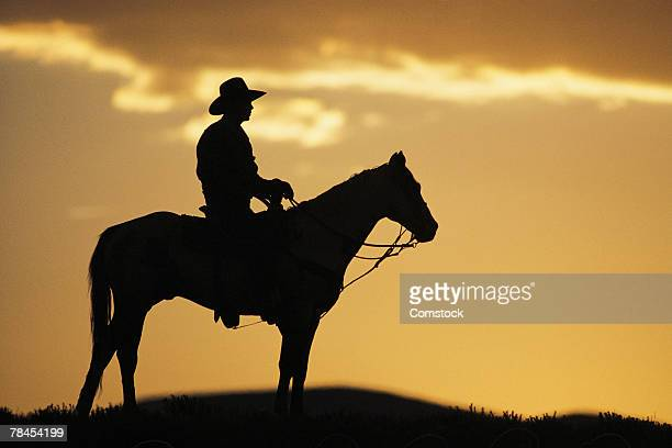 Silhouette of cowboy on horseback at sunset or sunrise
