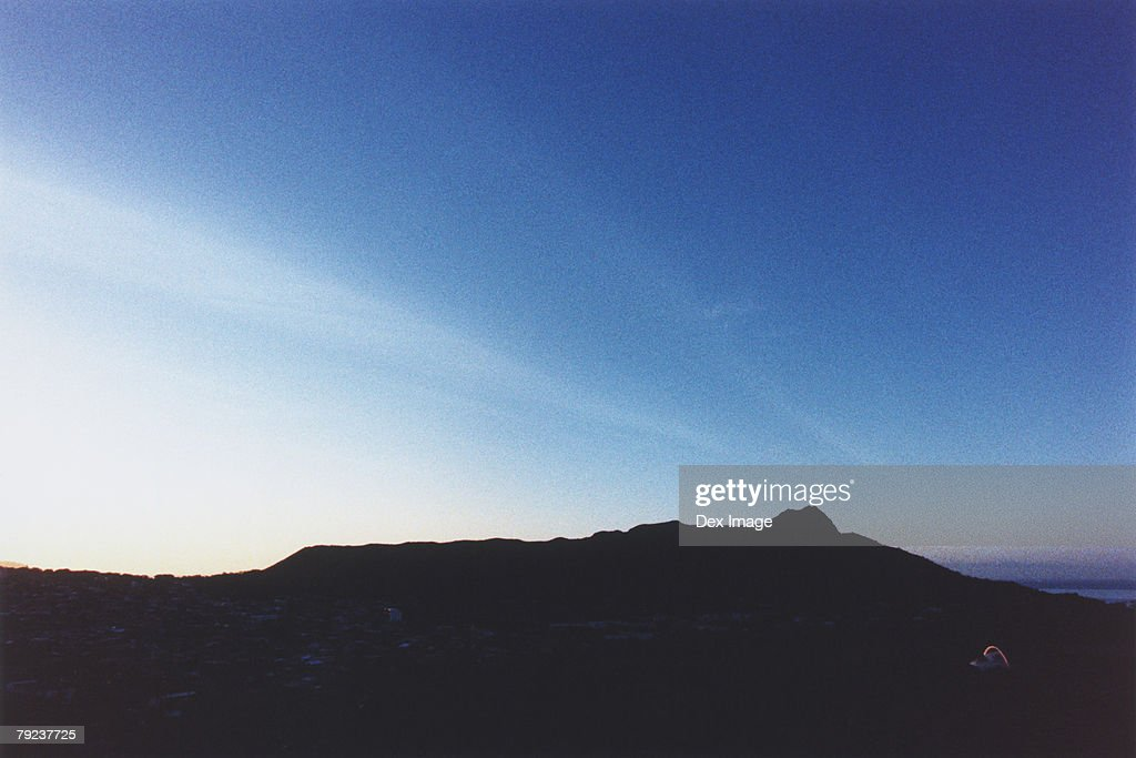 Silhouette of Diamond Head, Oahu, Hawaii, USA : Stock Photo