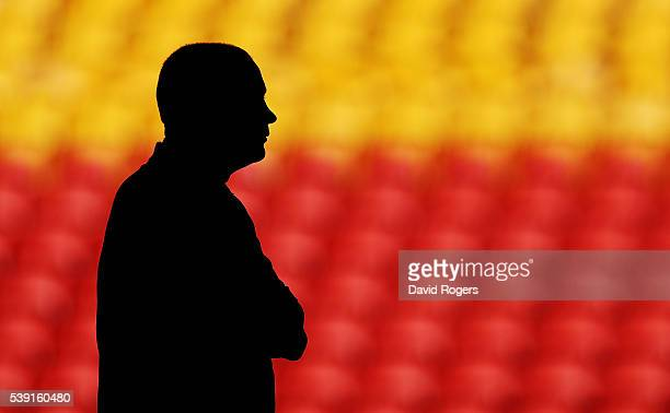 A silhouette of Eddie Jones the England head coach as he looks on duirng the England captain's run held at the Suncop Stadium on June 10 2016 in...