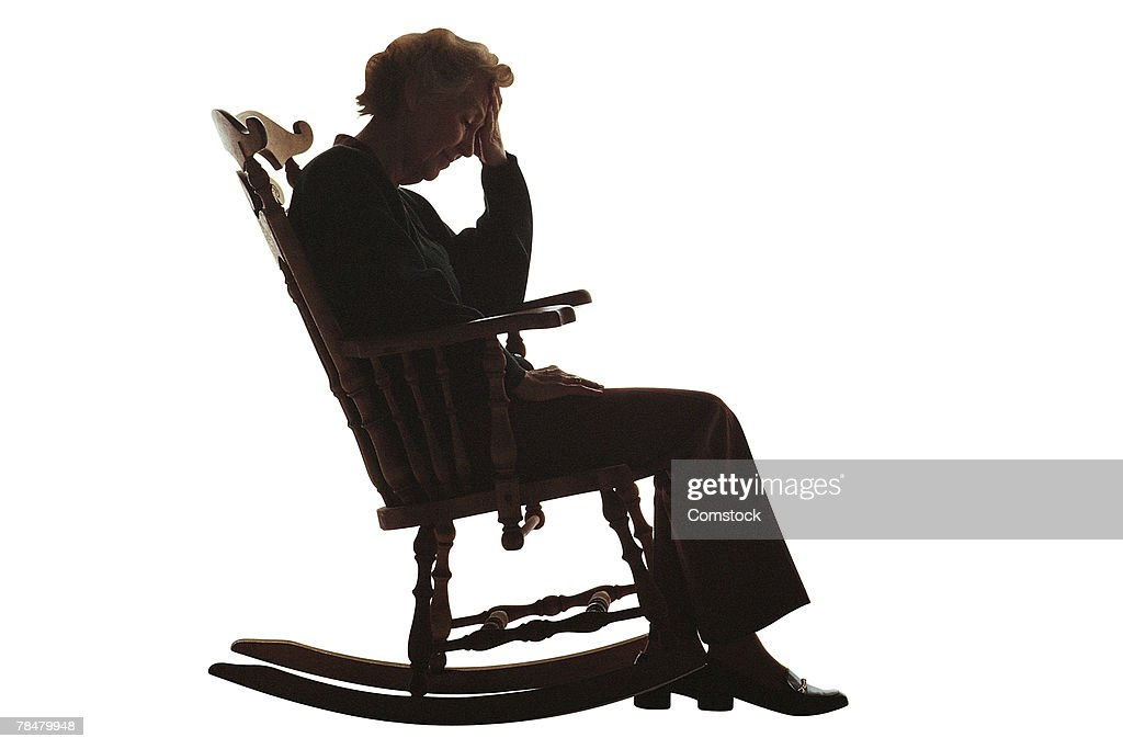 Silhouette Of Elderly Woman In Rocking Chair Stock Photo | Getty ...