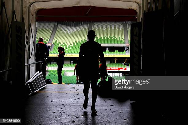 A silhouette of England fullback Mike Brown as he walks down the tunnel during the England Captain's Run at AAMI Park on June 17 2016 in Melbourne...