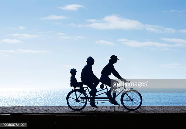 Silhouette of family riding tricycle by sea, side view