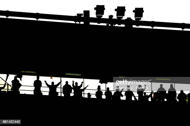 A silhouette of fans at the Stadium of Ullevi in Gothenburg venue for the 2004 UEFA Cup Final