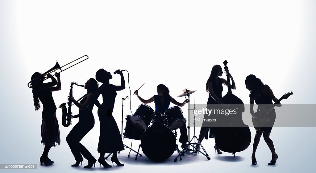 Silhouette of female musicians : Stock Photo