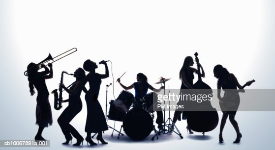 Silhouette of female musicians : ストックフォト