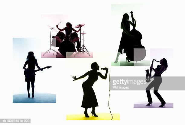 Silhouette of female musicians