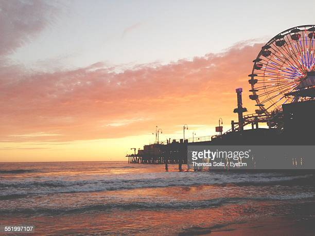 Silhouette Of Ferris Wheel On Santa Monica Pier