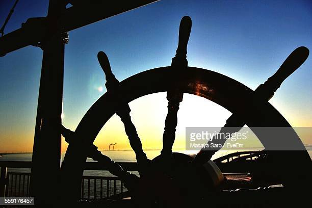 Silhouette Of Helm Of Passenger Ship