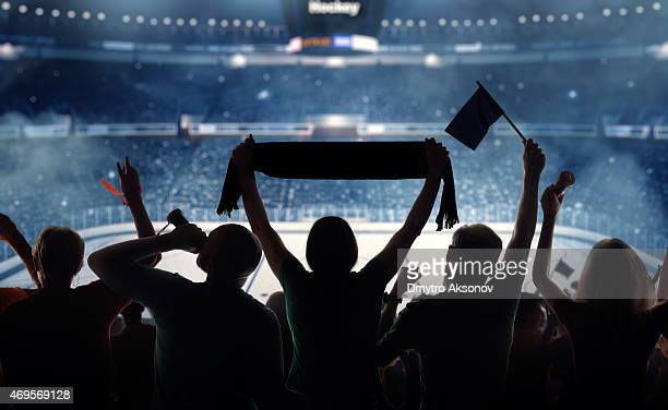 Silhouette of hockey fans at a stadium