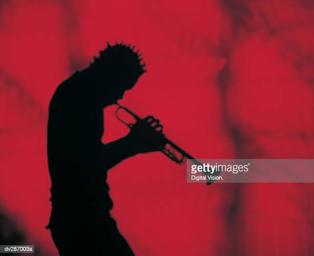 Silhouette of horn player with dreads