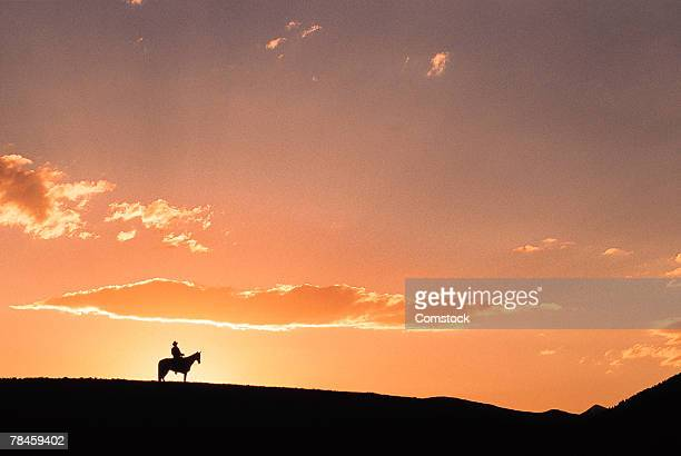 Silhouette of horseback rider on ridge , Fairplay , Colorado
