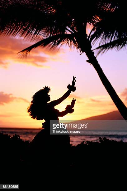 Silhouette of hula dancer near coast, Hawaii