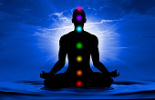 Silhouette of human doing yoga and where has scored seven chakra points