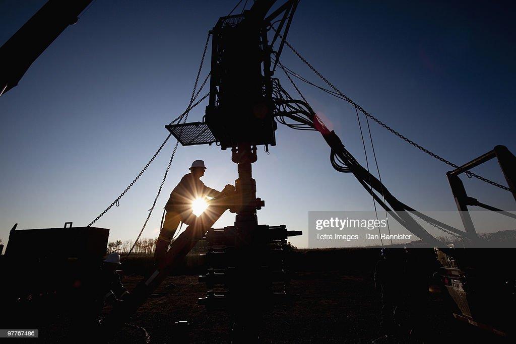 Silhouette of industrial worker