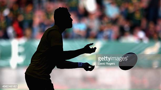 A silhouette of Israel Folau of the Wallabies catching the ball during The Rugby Championship match between the South African Springboks and the...