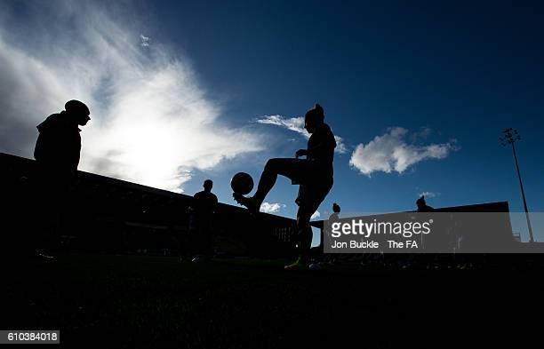 Silhouette of Laura Bassett of Notts County Ladies FC as she warms up prior to the match against Sunderland AFC Ladies on September 25 2016 in...