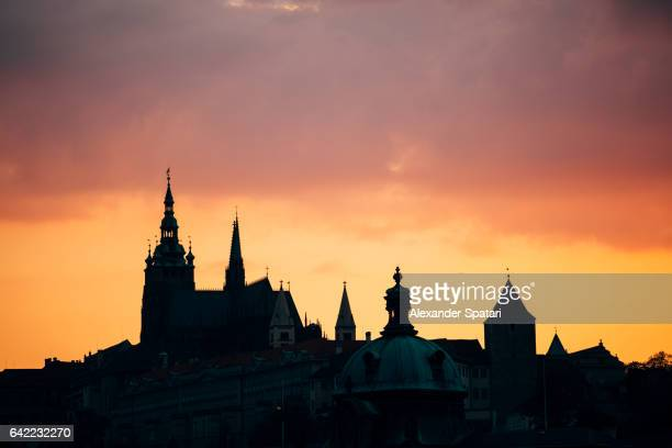 Silhouette of Lesser Town (Mala Strana) at sunset, Prague, Czech Republic