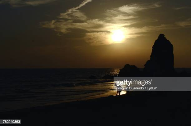 Silhouette Of Man At Beach During Sunset