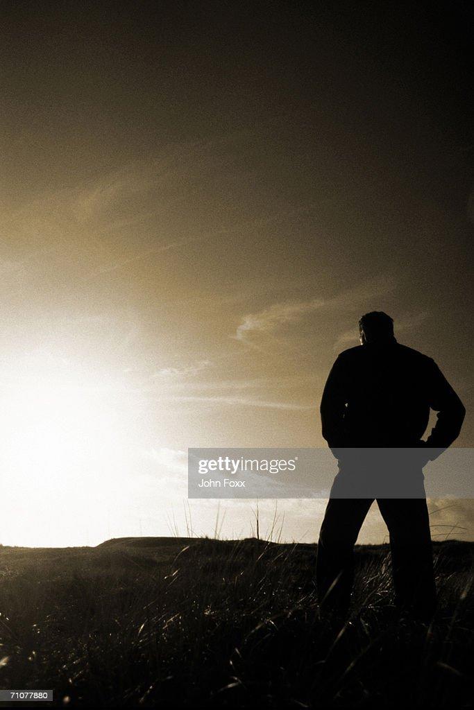 Silhouette of man watching twilight (B&W)