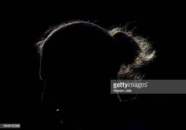 A silhouette of Marcel Siem of Germany on the 18th green during the first round of the Trophee du Hassan II Golf at Golf du Palais Royal on March 28...