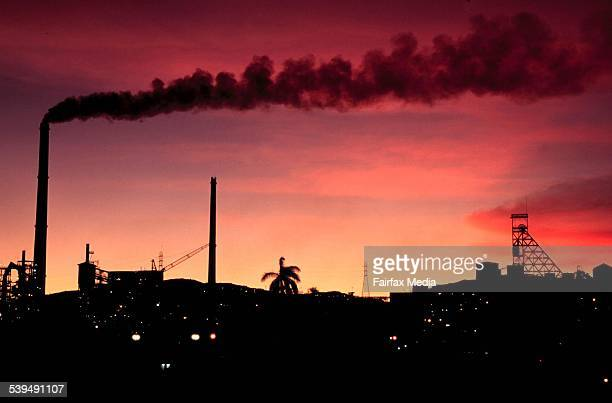 Silhouette of Mount Isa Coal Mine against a red sunset on 22 January 2002 AFR NEWS Picture by GREG NEWINGTON