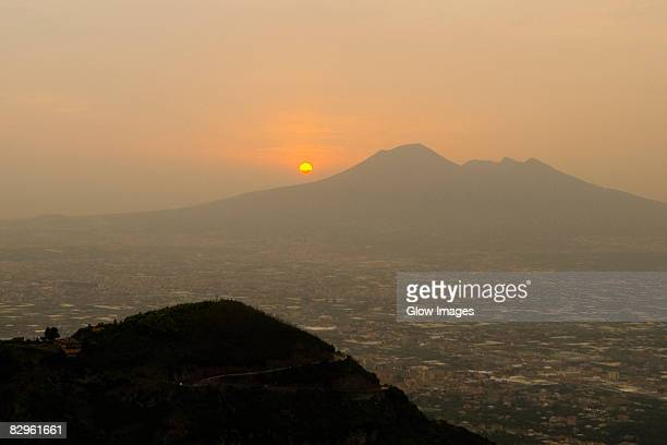 Silhouette of mountains at sunset, Mt Vesuvius, Naples, Campania, Italy