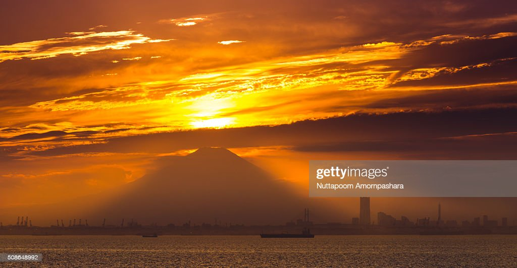 Silhouette of mt.Fuji : Stock Photo