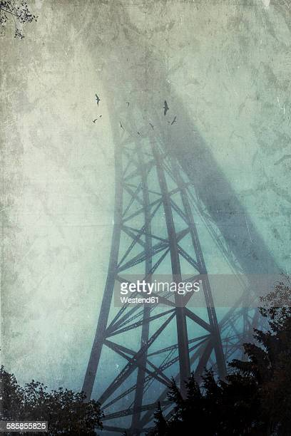 Silhouette of Muengsten Bridge in the fog, textured effect