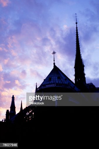 Silhouette of Notre Dame and it's flying buttresses; Paris, France. : Stock Photo