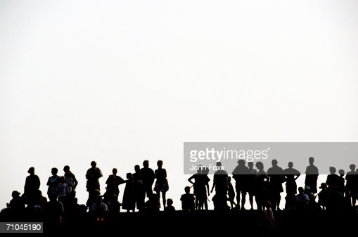Silhouette of people on white background : Stock Photo