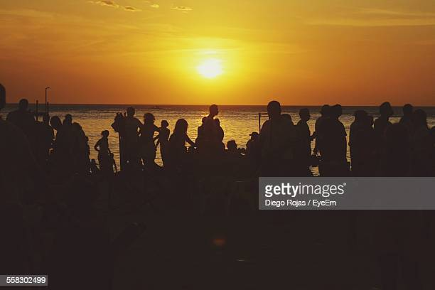 Silhouette Of People Partying On Beach