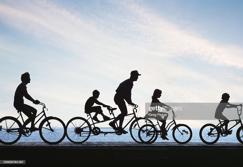 Silhouette of people riding bicycles by sea, side view : Stock Photo